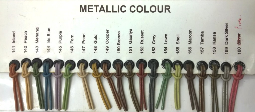 Leather strings colour chart - metallic