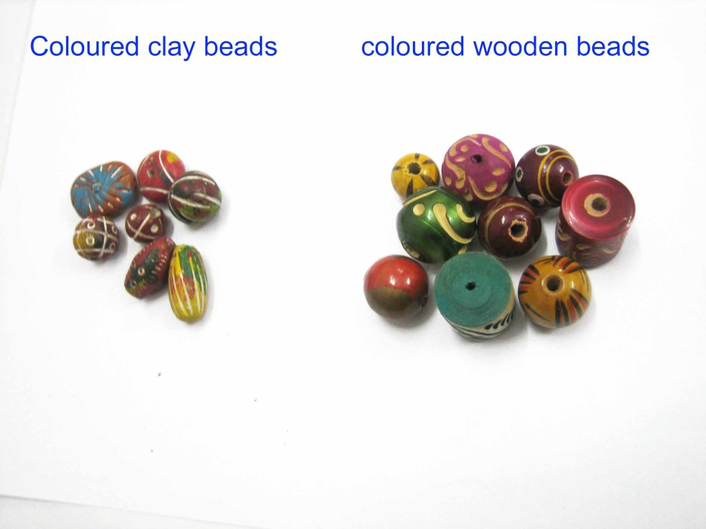 Clay, wooden colour beads