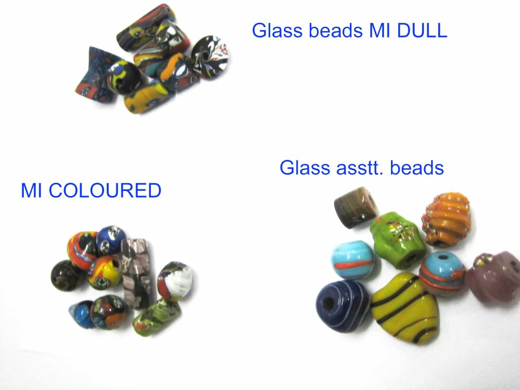 Glass beads Mi dull, coloured, asstt
