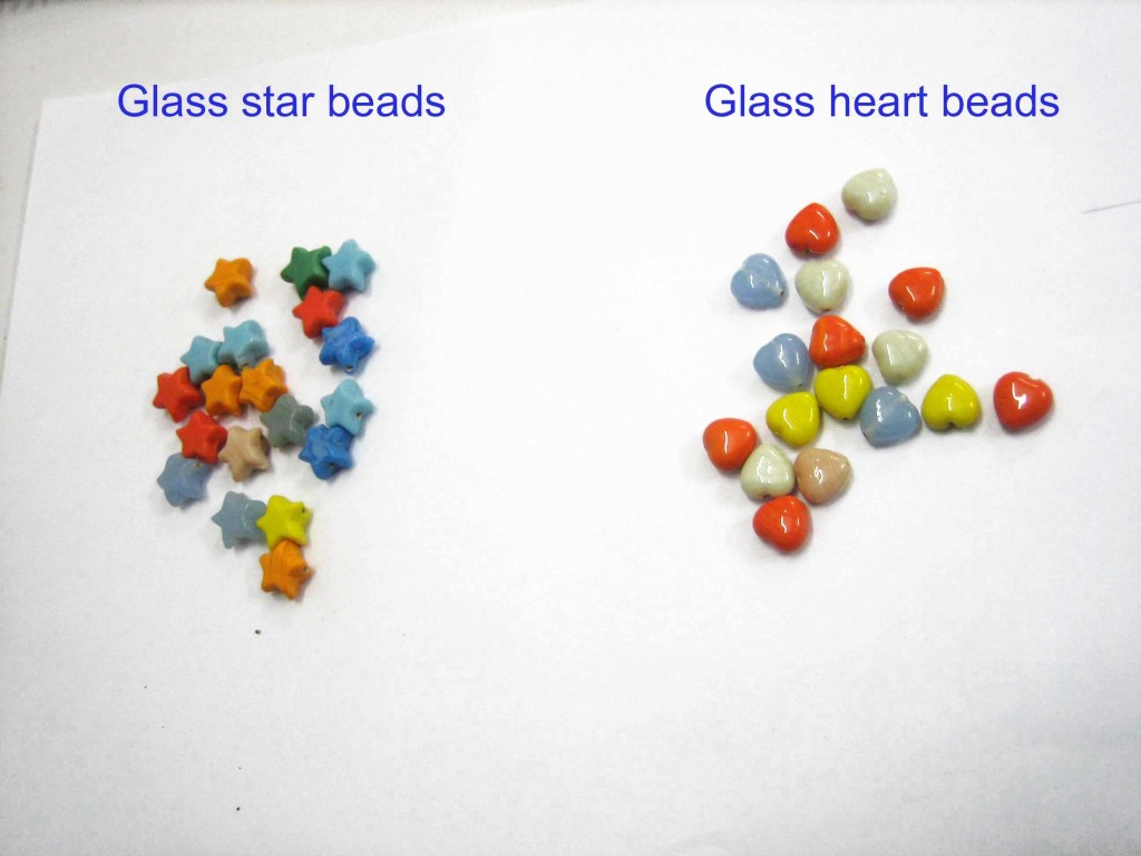Glass beads star,  heart