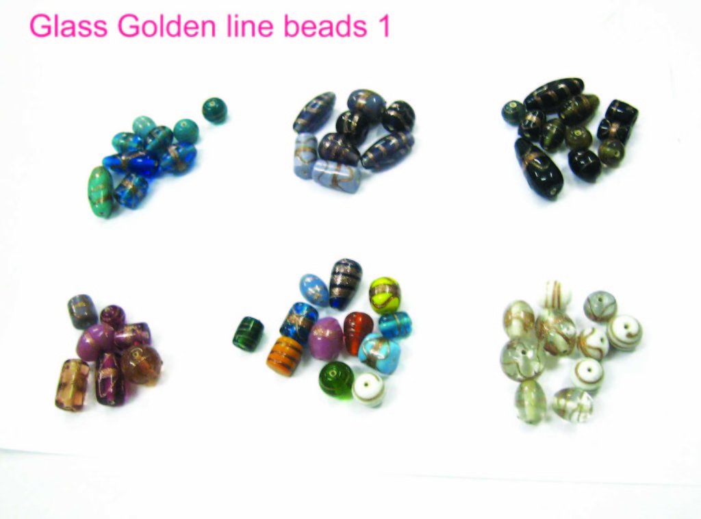 Glass golden line beads 1