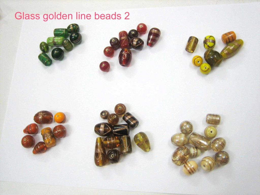 Glass golden line beads 2